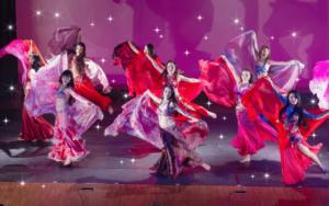 楽しく踊っているだけで、知らず知らずのうちに美しく、均整の取れた身体になっていくのが嬉しいポイントですね。 そして、エキゾチックな音楽と神秘的で美しい衣装も大きな魅力の一つです。 神秘的で異国情緒溢れる音楽に合わせて優美に踊り,ビューティーパワーをアップさせていきましょう!画像は東京と千葉にあるベリーダンス教室Emily Diamond Japanの2017年発表会の様子です(東京銀座ブロッサムホールにて)