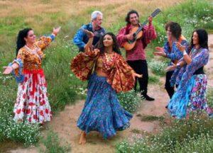 西暦1000年頃にインドのラジャスターン地方から放浪の旅に出て、北部アフリカやヨーロッパなどへ たどり着いたとされる民族をジプシー(ロマ)といいます。 彼らは行く先々で各地の文化を取り入れ、独自の音楽や踊りのスタイルを形成していきました。 ベリーダンスでは、主にトルコの8分の9拍子のリズムを使った曲やアンダルシアンなどを ジプシー(ロマ)といい、衣装も花柄やフリンジなど、普段の洋服に近いものを身につけます。